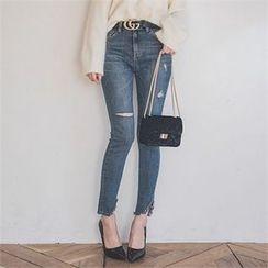 ERANZI - Asymmetric-Hem Distressed Slim-Fit Jeans