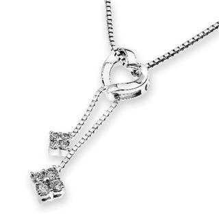 MaBelle - 18K White Gold Heart Dangle String Link Diamond Accent Pendant Necklace (0.13cttw) (FREE 925 Silver Box Chain, 16')