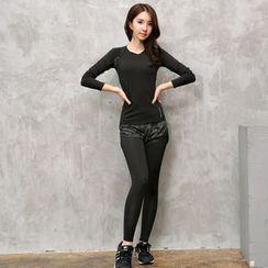 REALLION - 套装: 长袖运动T恤 + 假两件内搭裤运动短裤