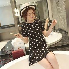 Cherry Dress - Polka Dot Ruffle Hem Short-Sleeve Dress