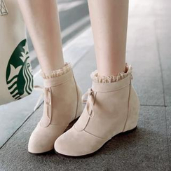 Pastel Pairs - Faux Leather Frill Trim Hidden Wedge Ankle Boots
