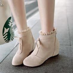 Pastel Pairs - 仿皮荷叶边内增高踝靴