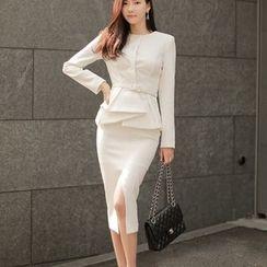 Dimanche - 套裝: 荷葉腰外套 + 開衩鉛筆裙