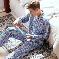 Mydream - Pajama Set: Plaid Long-Sleeve Shirt + Pants