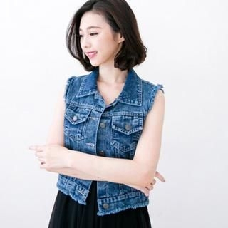CatWorld - Fray-Hem Washed Denim Vest