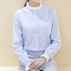 Tangi - Frilled Neck Pinstriped Shirt