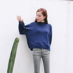 ZIZI - Mock-neck Puff-sleeve Knit Top