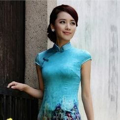 Miss Four Qipao - Flower Print Cap-Sleeve Silk Cheongsam
