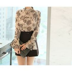 Marlangrouge - Flared-Sleeve Floral Print Chiffon Top