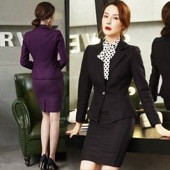Aision - One-Button Blazer / Dotted Shirt / Pencil Skirt