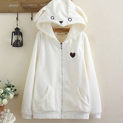 Angel Love - Paw Embroidered Hooded Jacket