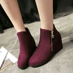 Shoes Galore - Side Zip Hidden Wedge Ankle Boots