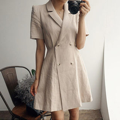 chuu - Notched-Lapel A-Line Linen Coatdress