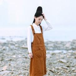 tete - Corduroy Suspender Skirt