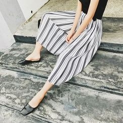Jack Grace - Striped Cropped Wide-Leg Pants
