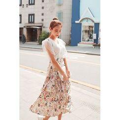 Cherryville - Suspenders Floral Print Midi Skirt
