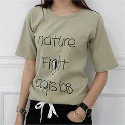 CHICFOX - Raglan-Sleeve Lettering T-Shirt