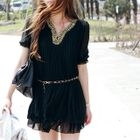ARIA MALL - Studded Pleated Chiffon Mini Dress with Chain-Trim Belt