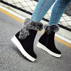 Pangmama - Platform Fleece-Lined Short Boots