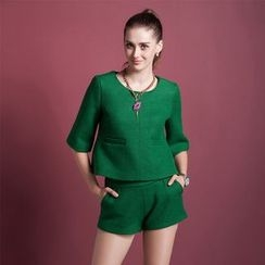 Ozipan - Set: Elbow-Sleeve Wool Blend Cropped Top + Shorts