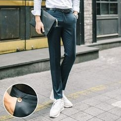 DANGOON - Flat-Front Buttoned Pants