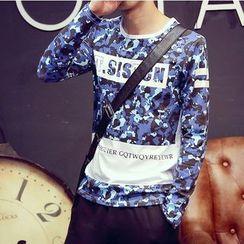 Consto - 迷彩印字長袖T恤