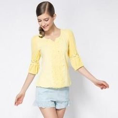 O.SA - 3/4-Sleeve Lace-Panel Blouse