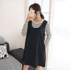 GESTA - Maternity Set: Long-Sleeve Striped Top + Jumper Dress
