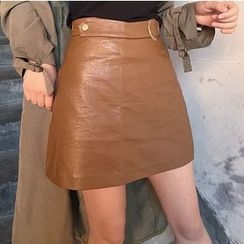 MATO - A-Line Faux Leather Skirt