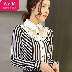 Eferu - 拼接条纹衬衫