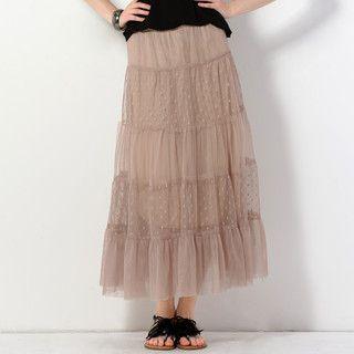 59 Seconds - Polka Dot Panel Tulle Maxi Skirt