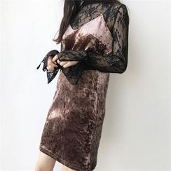 气质淑女 - 套装: 长袖蕾丝上衣 + 多带丝绒连衣裙