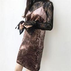 QZ Lady - Set: Long-Sleeve Lace Top + Strappy Velvet Dress
