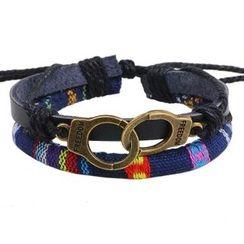 KINNO - Handcuffs Woven Genuine Leather Bracelet