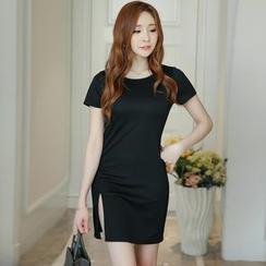 YUMU - Plain Short Sleeve T-Shirt Dress
