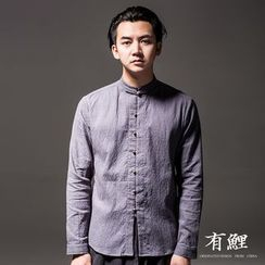 Ashen - Chinese Frog-Button Stand-Collar Linen Shirt