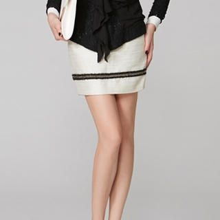 O.SA - Fringed-Trim Pencil Skirt