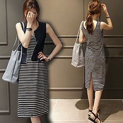 Ranee - Slit-Back Striped Tank Dress