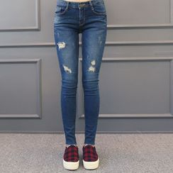 DANI LOVE - Distressed Brushed-Fleece Lined Skinny Jeans