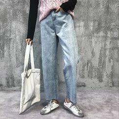 CosmoCorner - Washed Cropped Wide-Leg Jeans