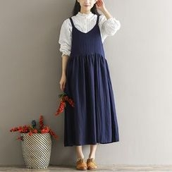 Clover Dream - Plain Midi Pinafore Dress