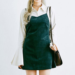 chuu - Spaghetti-Strap Corduroy A-Line Mini Dress
