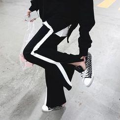 DISCOSALON - Contrast-Trim Slit-Side Sweat Pants