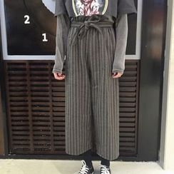 Dute - 條紋高腰寬腿長褲