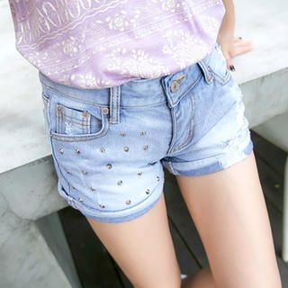 Tokyo Fashion - Studded Distressed Cuffed Denim Shorts