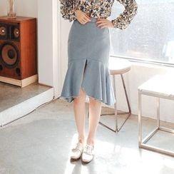Cherryville - Slit-Front Denim Mermaid Skirt