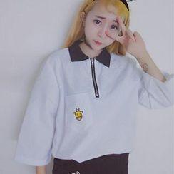 Miss Kekeli - 刺绣七分袖拉链前马球衫