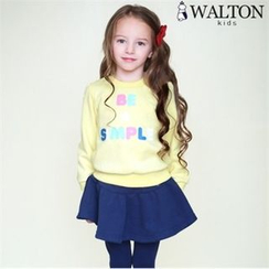 WALTON kids - Kids Set: Lettering Print Sweatshirt + Inset Skirt Leggings