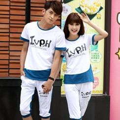 NoonSun - Couple Matching Set: Color Block Lettering Short Sleeve T-Shirt + Cropped Sweat Pants