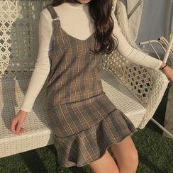 Bloombloom - Set: Plain Long Sleeve Knit Top + Ruffle Hem Plaid Pinafore Dress